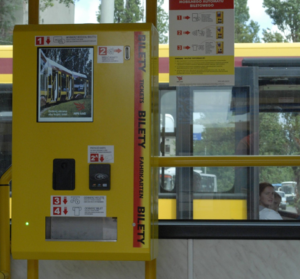 Mobile ticket machine BM-05 selling tickets in a public transport vehicle in Łódź