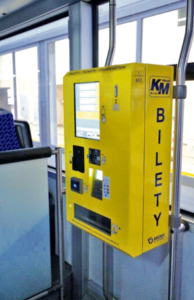 Mobile ticket machine BM-07  in the vehicle of the Municipal Transport in Płock.