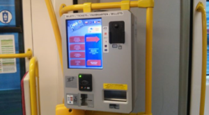 Mobile ticket machine BM-101 selling in a public transport vehicle in Wrocław.
