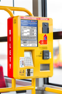Mobile ticket machine BM-102 selling in a public transport vehicle in Warsaw.
