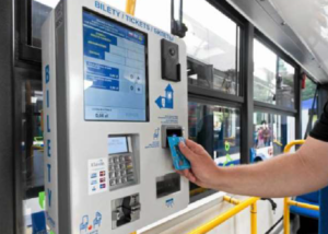 Mobile ticket machine BM-102 selling in a public transport vehicle in Cracow.