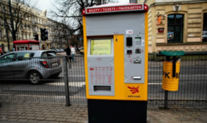 Stationary BS-201 ticket machine in the streets of Łódź (Municipal Transport Company Łódź)