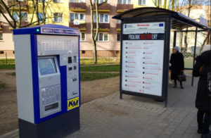 Stationary BS-201 TVM at the bus stop – Urban Transport in Płock.
